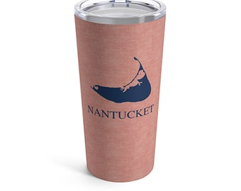 Nauti in Nantucket Flag Skinny Steel Tumbler 20oz with Sipping Lid and Straw Renter Gift