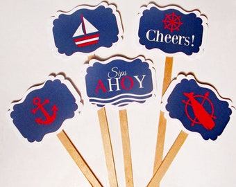 Ships Wheel Cocktail Stirrers Pirate Party Anchor Set of 10 re-usable