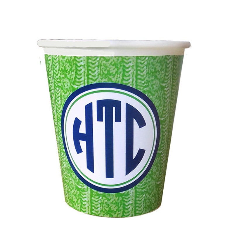 Set of 12 Monogram Green Cable Knit Sweater Pattern HotCold Paper Party Cups
