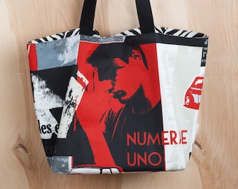Numere Uno Tote- Graphic Art Tote- Red and Black Cotton Tote- by beckyzimmdesign