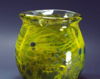 Yellow and Blue blown glass bowl