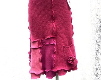 Pink Wool A-Line Skirt, Upcycled Sweater Skirt, Recycled Clothing, Bright Fuschia Pink Patchwork, Women Small, # SK397