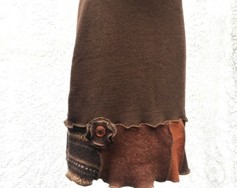 Wool Bum Warmer Skirt, Upcycled Sweater Skirt, Short Straight , X Small, Brown Rust Patchwork, Flower Applique, #SK396