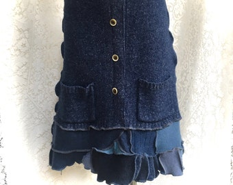 Sweater Skirt, Wool Upcycled Sweaters, Patchwork in Shades of Denim Blue, Women Medium to Large, #SK415