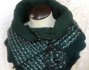 Scarf Neckband Cowl Collar , Upcycled Sweater in Kelly Green and White Pattern, Winter Neckwarmer, #SKF185