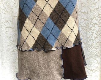 Cotton Sweater Skirt, Upcycled Clothing, Argyle Pattern, Oatmeal, Blue, Brown Patchwork, Women Medium to Large, #SK437