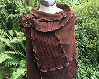 Upcycled Large Brown Wrap, Stole, Shawl, Recycled Sweaters, Acrylic Blend, #C188