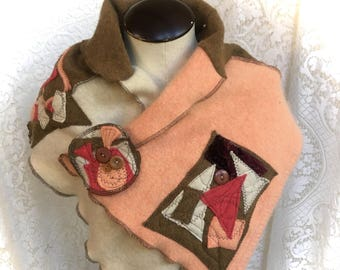Upcycled Scarf, Collar, Wool, Angora, Cashmere, Patchwork, Cowl Neck Style, Abstarct Design, Peach Brown White, #SCK186