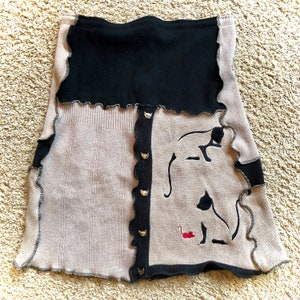 Appliques and Embroider Women Cotton Skirt Upcycled Sweater Fall Harvest Theme #SK 468 MD-LG