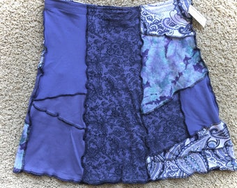 Upcycled Tee Skirt, Recycled Clothing, Cotton A-Line Patchwork, Lavender Blue, Medium to Large, #SK425