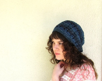 Blue Sparkle Hipster Slouchy Lace Crochet Hat Hippy Hippie Snood Women's Hand Made Winter Accessory Back To School