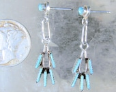 Solid 925 Sterling Silver and Turquoise Petit Point Earrings, Southwestern, Possible Zuni, Pierced Post