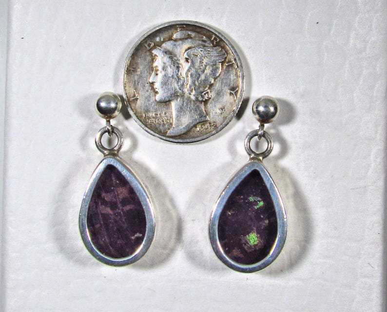 Solid 925 Sterling Silver Pierced Post Russian-Made Teardrop Dangle Earrings with Blue  Green  Yellow Butterfly Wings Behind Glass