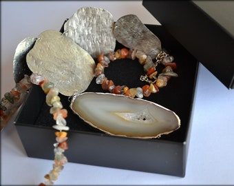 Long Statement Necklace, Agate Necklace, Silver Necklace, Natural Stones