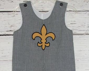 Boys Fleur de Lis Applique Longall Shortall Jon Jon  Team Spirit Football Romper Monogram New Orleans