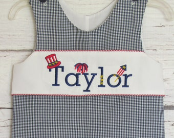 FREE SHIPPING Smocked Flag Shortall Sibling Matching Fourth of July Jon Jon