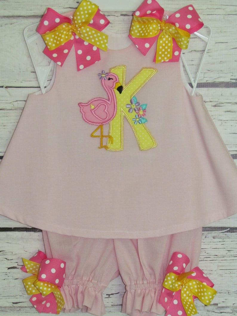 8aefaa4f3 Flamingo Girls A-line Dress Swing Top Bloomer Set Monogram