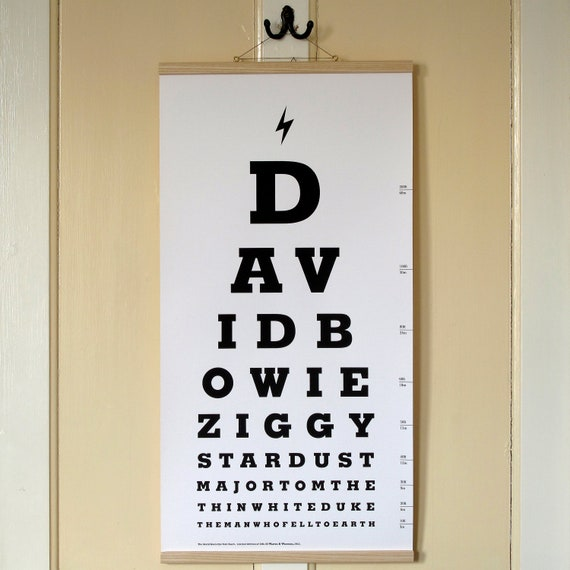 The David Bowie Eye Test Chart Limited Edition Canvas Print Etsy
