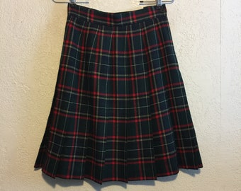 Vintage 1990s Pleated Wool Plaid Skirt ~ Schoolgirl Style, Size 4