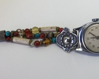 Vintage 925 Sterling Silver Southwestern Beaded Watch Band