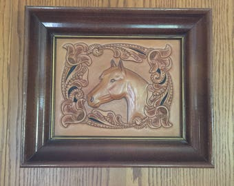 Vintage Western Tooled Leather Horse in Frame, Raised,3-D