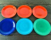Fiestaware 7.5 quot Cake Salad Plate VINTAGE 1940s Original Colors Light Green, Turquoise, Cobalt Blue, Red Antique Ceramic Fiesta Replacement