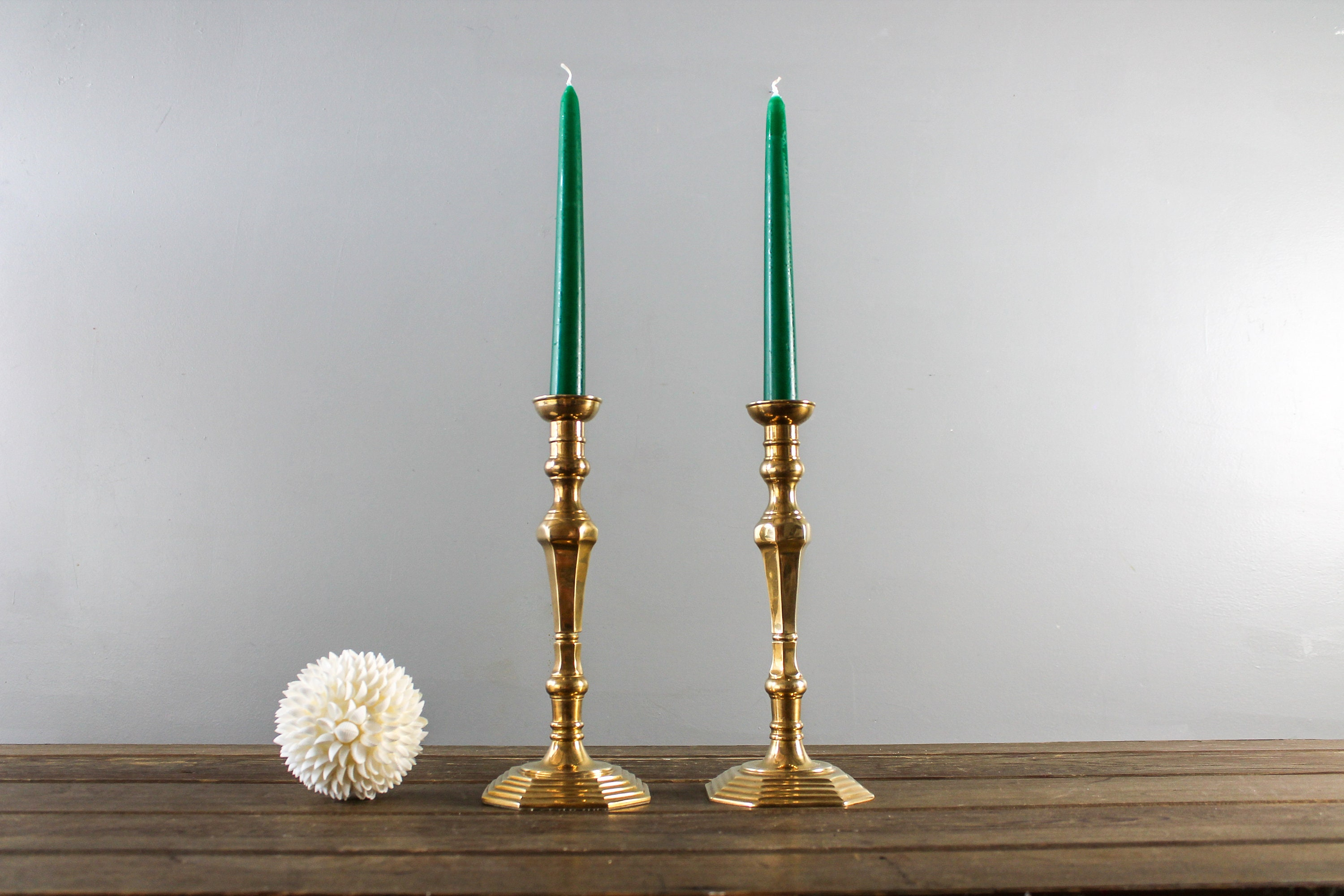 Solid Brass Candleholders Brass Candle Holers Pair Tall Brass Candle Holders
