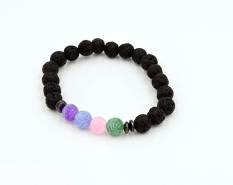 Agate Bracelet with Lava Beads // Choose Your Color!