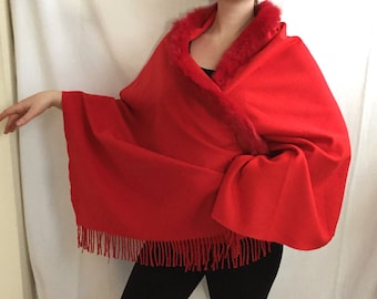 "Large Red Wool Shawl Rabbit Fur Fringe Trim // 27"" x 72"" // Large Shawl Scarf Wrap"