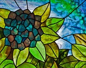Blue Hydrangea Stained glass pattern. David Kennedy Designs.