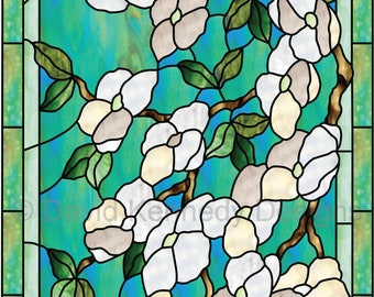 Dogwood with Borders Stained Glass Pattern.© David Kennedy Designs