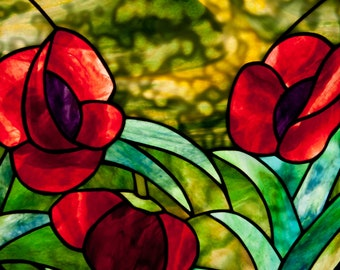 Three Round Poppies Stained Glass Panel.© David Kennedy Designs.