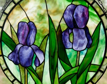 Two Irises Stained Glass Pattern.© David Kennedy Designs.