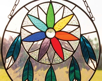 Rainbow Dreamcatcher Stained Glass Pattern.© David Kennedy Designs.