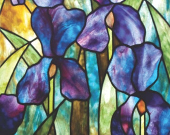 6042dbe8a5b1c5 Moody Iris Stained Glass Pattern. © David Kennedy Designs.