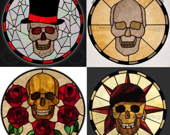 Four Skulls Stained Glass Patterns.© David Kennedy Designs.