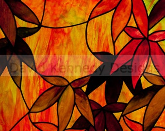 Japanese Maple Stained Glass Pattern. © David Kennedy Designs.