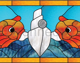 Submariners Dolphin Pin Stained Glass Pattern.© David Kennedy Designs.