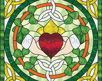 Triquetra Claddagh Stained Glass Pattern. © David Kennedy Designs.