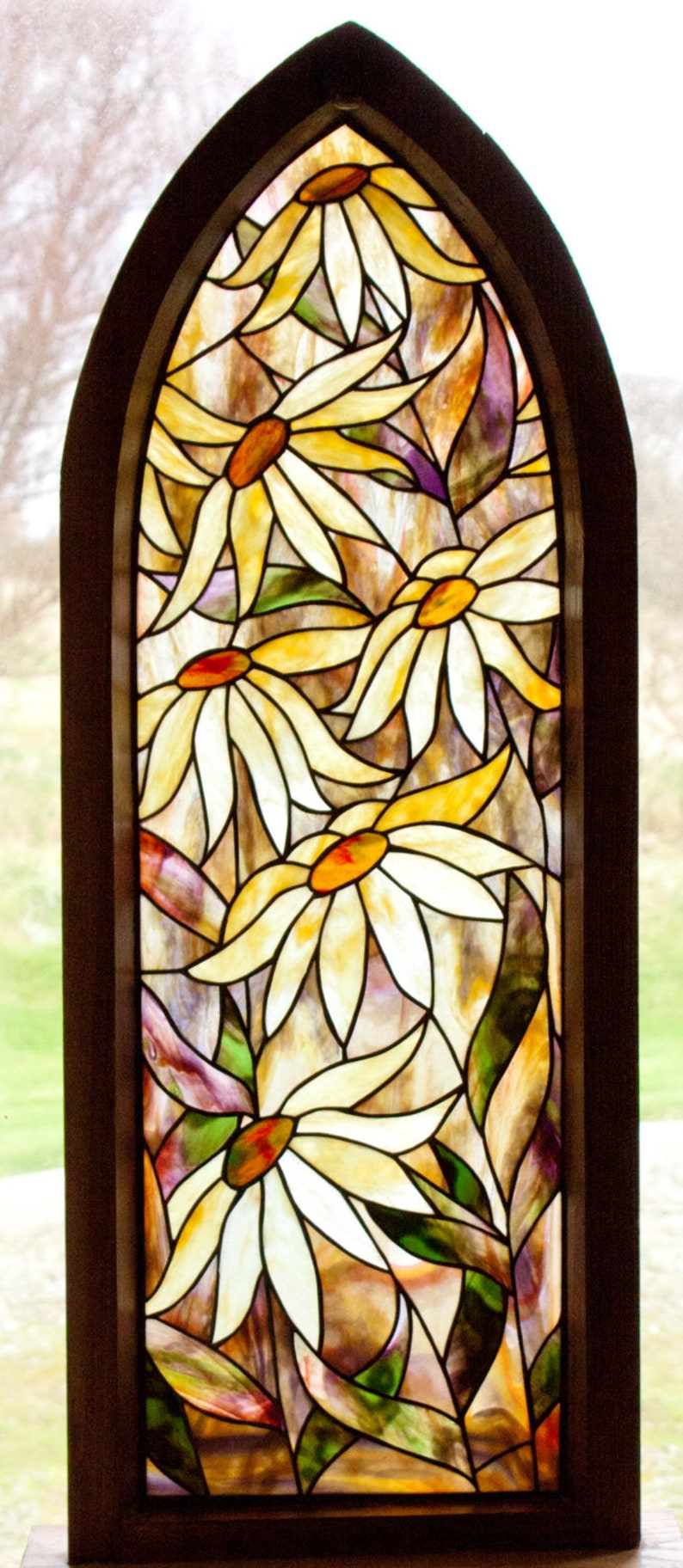 Gothic Daisy Stained Glass Pattern. .© David Kennedy Designs. image 0
