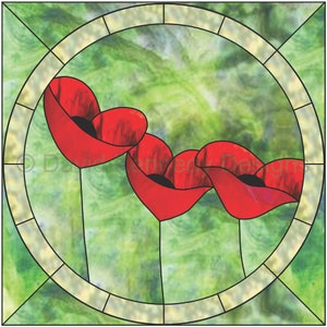 Poppies Horizontal Stained Glass Pattern.\u00a9 David Kennedy Designs.