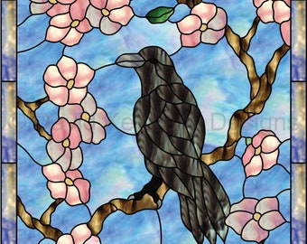 Raven with Cherry Blossoms Stained Glass Pattern. © David Kennedy Designs.