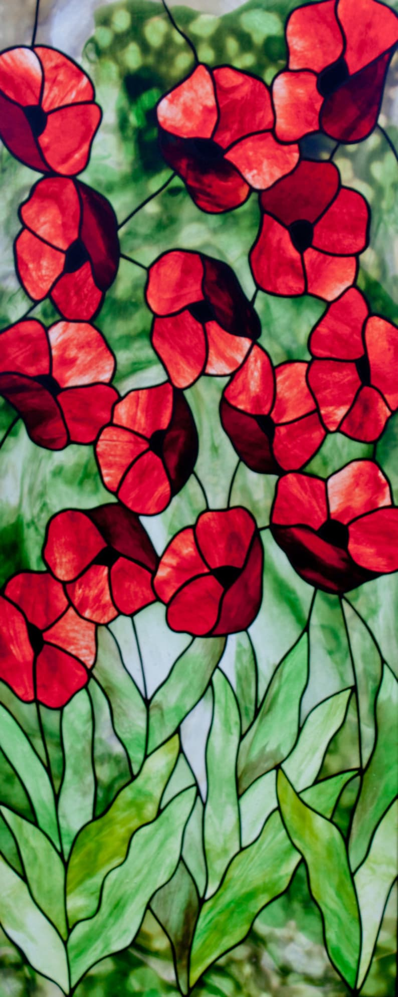 Poppies Stained Glass Pattern. © David Kennedy Designs. image 0