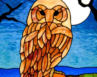 Owl in the Moonlight Stained Glass Pattern.© David Kennedy Designs.