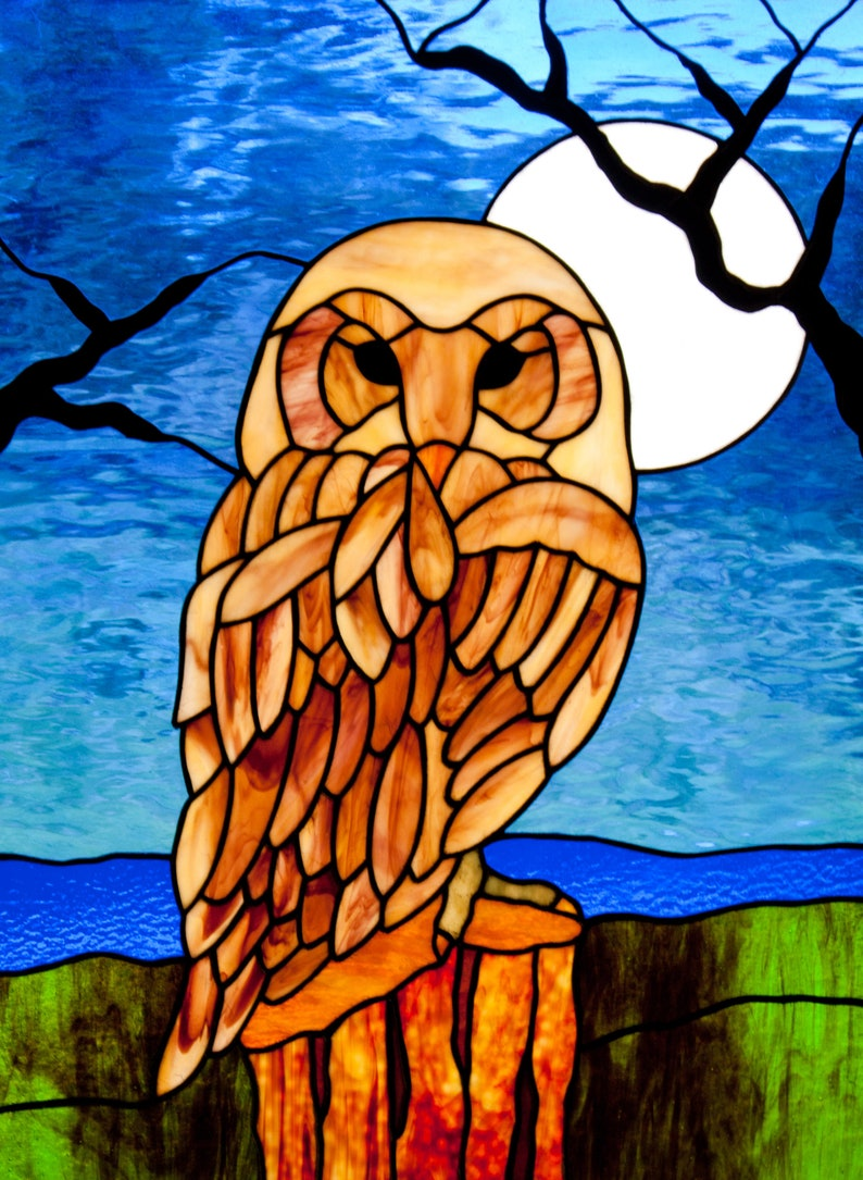 Owl in the Moonlight Stained Glass Pattern.© David Kennedy image 1