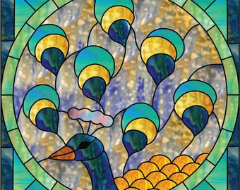 Round Peacock Stained Glass Pattern. © David Kennedy Designs.