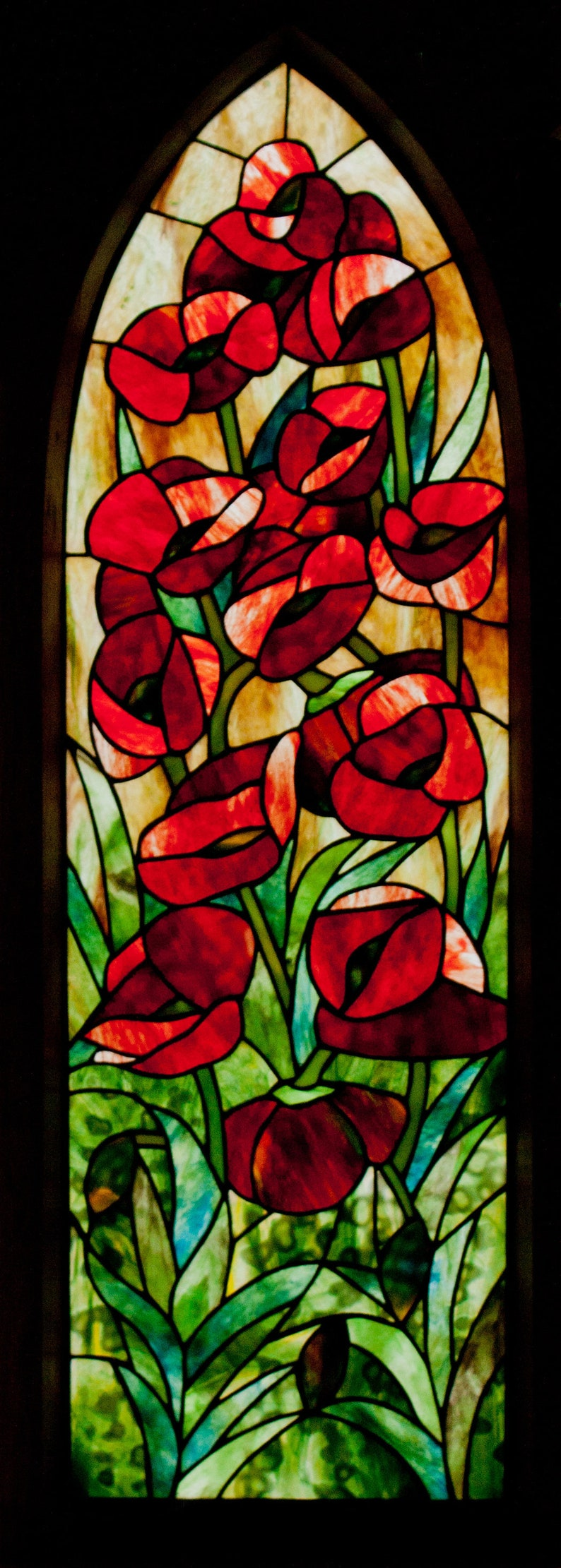 Gothic Poppies Stained Glass Pattern. © David Kennedy Designs. image 0