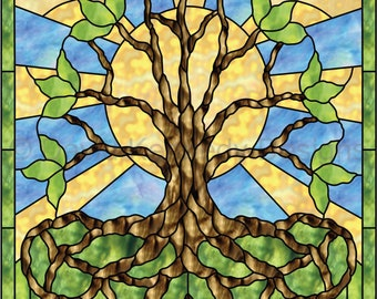 Celtic Roots Tree of Life Stained Glass Pattern. © David Kennedy Designs.