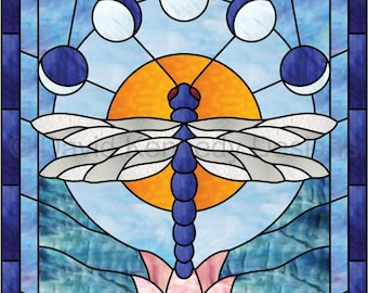 Dragonfly Lotus Stained Glass Pattern.© David Kennedy Designs.