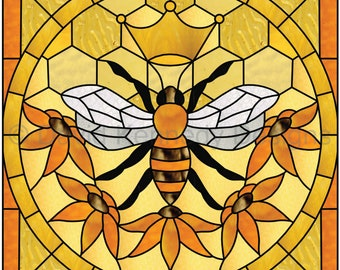 Queen Bee Stained Glass Pattern .© David Kennedy Designs.